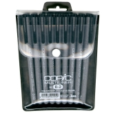 Copic Multiliner B-2 Set de 9 (003, 005, 01, 03, 05, 08, 1, BS, BM) - Negro